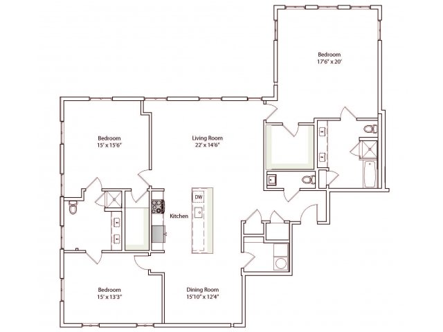 3 Bedrooms 2 Bathrooms Apartment for rent at Eilan in San Antonio, TX