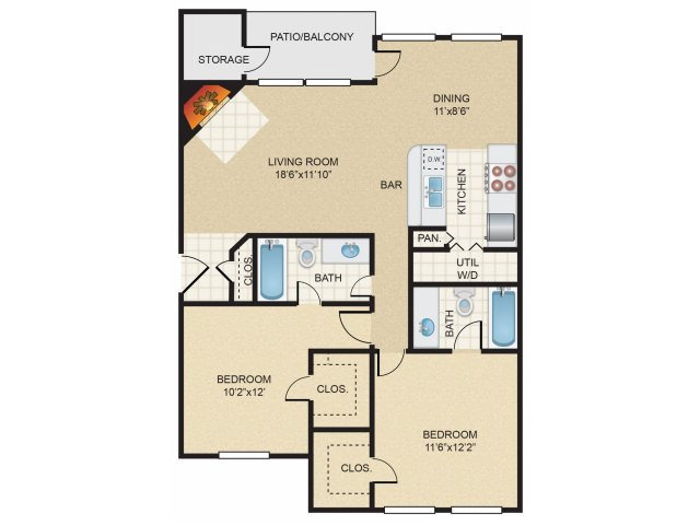2 Bedrooms 2 Bathrooms Apartment for rent at Huntington Meadows in Arlington, TX