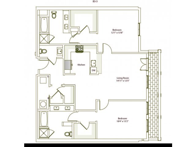 2 Bedrooms 2 Bathrooms Apartment for rent at Eilan in San Antonio, TX