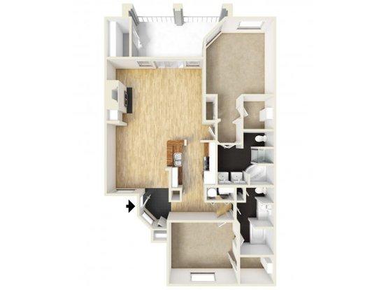 2 Bedrooms 2 Bathrooms Apartment for rent at Meridian in San Antonio, TX