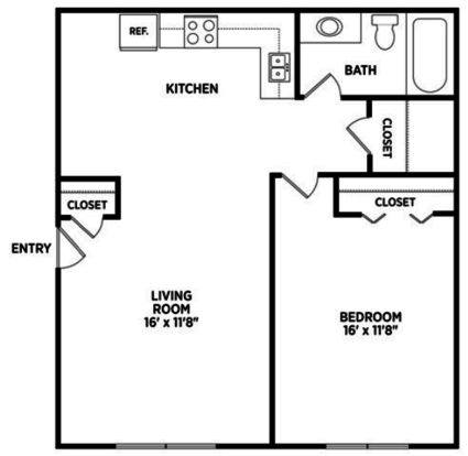 1 Bedroom 1 Bathroom Apartment for rent at North Pointe Apartments in East Lansing, MI