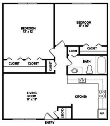 2 Bedrooms 1 Bathroom Apartment for rent at North Pointe Apartments in East Lansing, MI