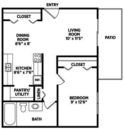 1 Bedroom 1 Bathroom Apartment for rent at Burnt Tree Apartments in East Lansing, MI