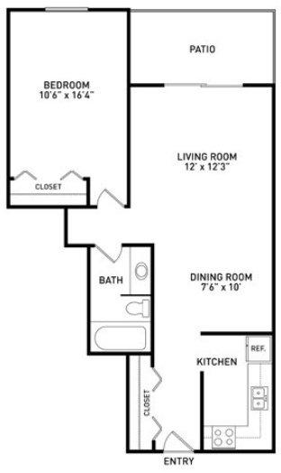 1 Bedroom 1 Bathroom Apartment for rent at Eden Roc Apartments in East Lansing, MI