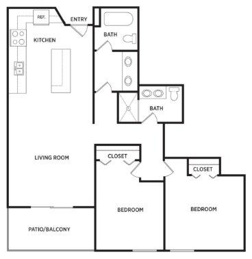 2 Bedrooms 2 Bathrooms Apartment for rent at Eden Roc Apartments in East Lansing, MI