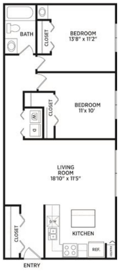 2 Bedrooms 1 Bathroom Apartment for rent at Beechwood Apartments in East Lansing, MI