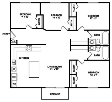 4 Bedrooms 2 Bathrooms Apartment for rent at Cedar Street Apartments in East Lansing, MI
