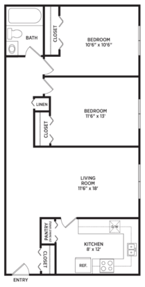 2 Bedrooms 1 Bathroom Apartment for rent at Abbott Pointe Apartments in East Lansing, MI