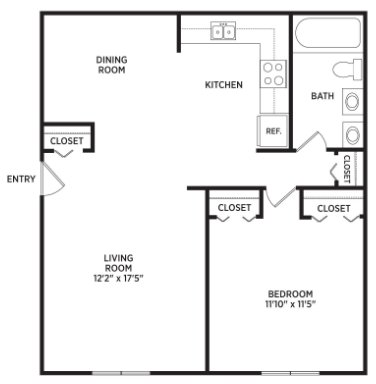 1 Bedroom 1 Bathroom Apartment for rent at University Terrace Apartments in East Lansing, MI