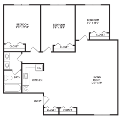3 Bedrooms 1 Bathroom Apartment for rent at University Terrace Apartments in East Lansing, MI