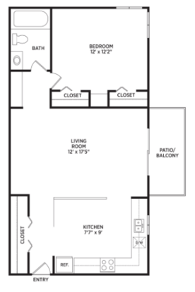 1 Bedroom 1 Bathroom Apartment for rent at Auburn Place Apartments in East Lansing, MI