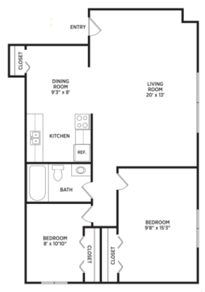 2 Bedrooms 1 Bathroom Apartment for rent at Auburn Place Apartments in East Lansing, MI