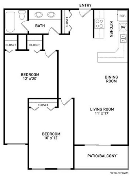 2 Bedrooms 1 Bathroom Apartment for rent at Americana Apartments in East Lansing, MI
