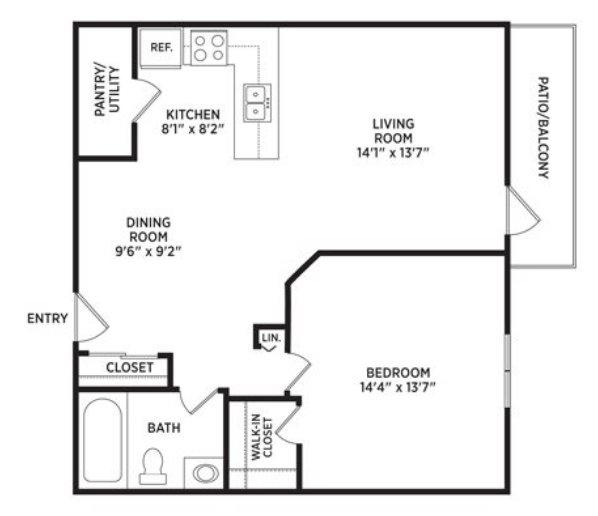 1 Bedroom 1 Bathroom Apartment for rent at Arbor Glen Apartments in East Lansing, MI