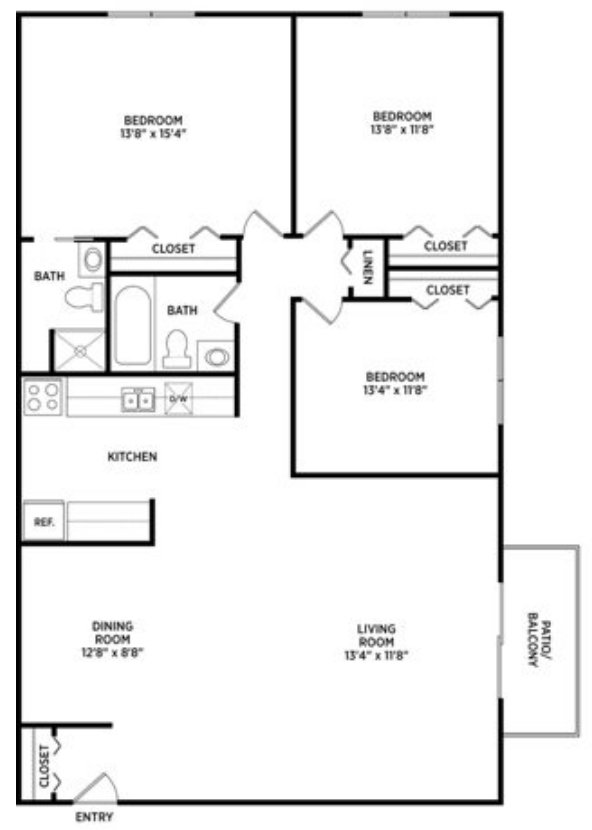 3 Bedrooms 2 Bathrooms Apartment for rent at College Towne West in Lansing, MI