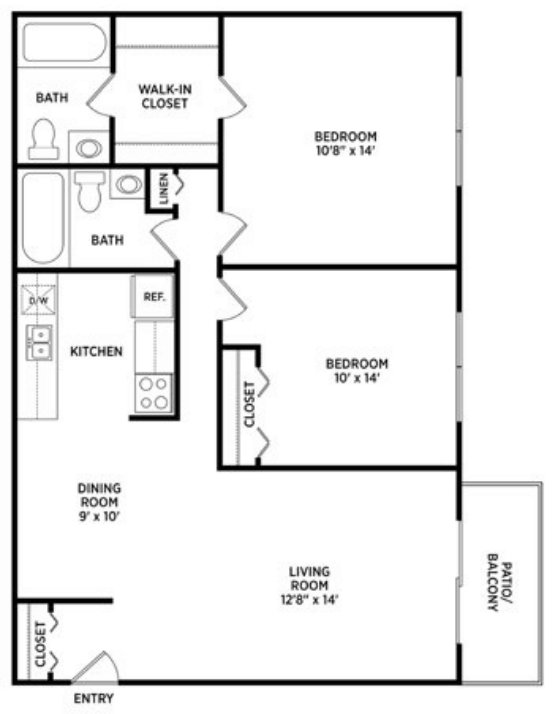 2 Bedrooms 2 Bathrooms Apartment for rent at College Towne West in Lansing, MI