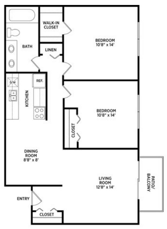 2 Bedrooms 1 Bathroom Apartment for rent at College Towne West in Lansing, MI