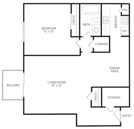 1 Bedroom 1 Bathroom Apartment for rent at Knob Hill Apartments in Okemos, MI