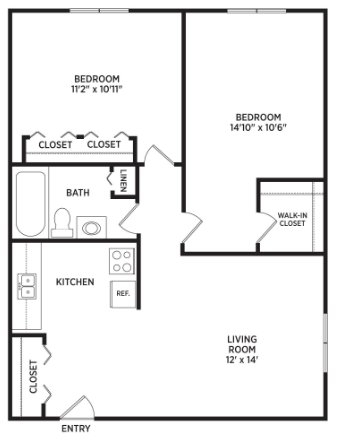 2 Bedrooms 1 Bathroom Apartment for rent at Oakridge Apartments in East Lansing, MI