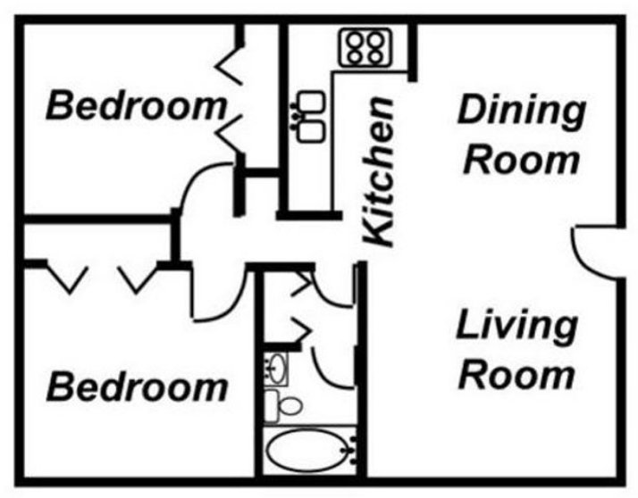 2 Bedrooms 1 Bathroom Apartment for rent at Madison Apartments in Lansing, MI