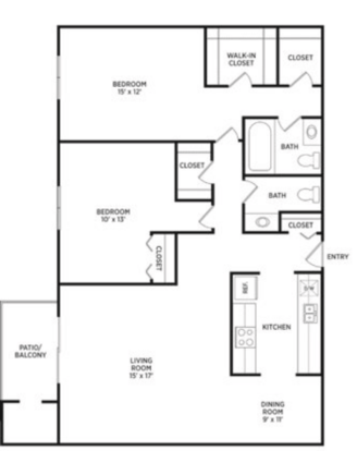 2 Bedrooms 1 Bathroom Apartment for rent at Verndale Apartments in Lansing, MI