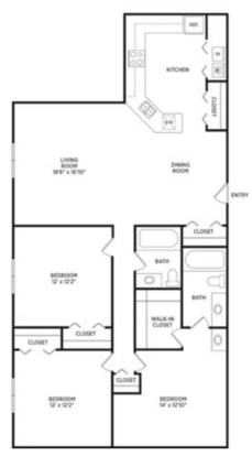 3 Bedrooms 2 Bathrooms Apartment for rent at Verndale Apartments in Lansing, MI