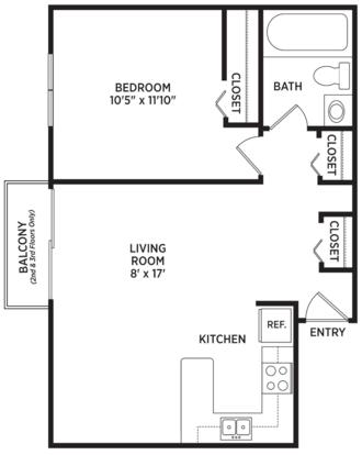 1 Bedroom 1 Bathroom Apartment for rent at Courtyard Flatlets in East Lansing, MI