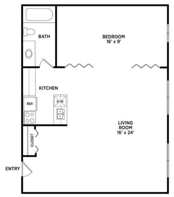 1 Bedroom 1 Bathroom Apartment for rent at University Villa Apartments in East Lansing, MI