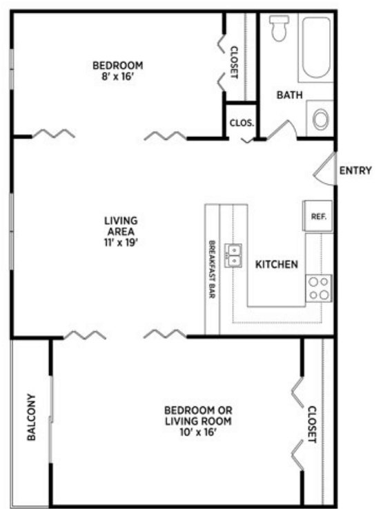 2 Bedrooms 1 Bathroom Apartment for rent at University Villa Apartments in East Lansing, MI
