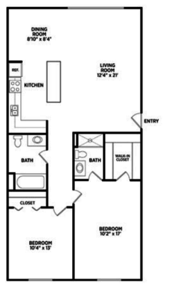 2 Bedrooms 2 Bathrooms Apartment for rent at East Knolls Apartments in East Lansing, MI