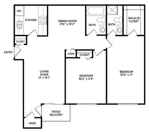 2 Bedrooms 2 Bathrooms Apartment for rent at Eastwind Apartments in East Lansing, MI