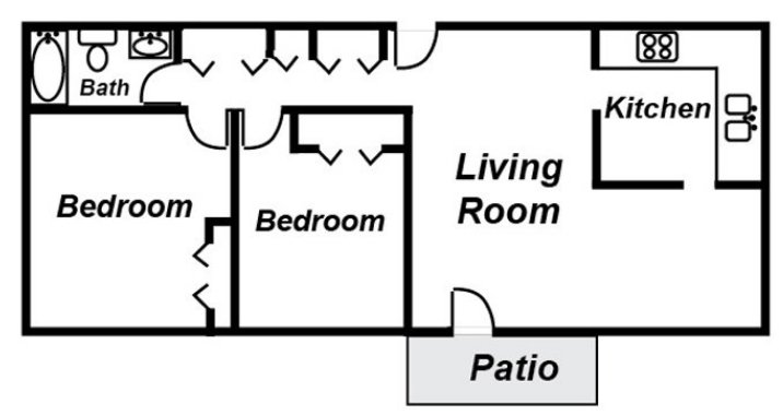 2 Bedrooms 1 Bathroom Apartment for rent at The Lodges in Lansing, MI