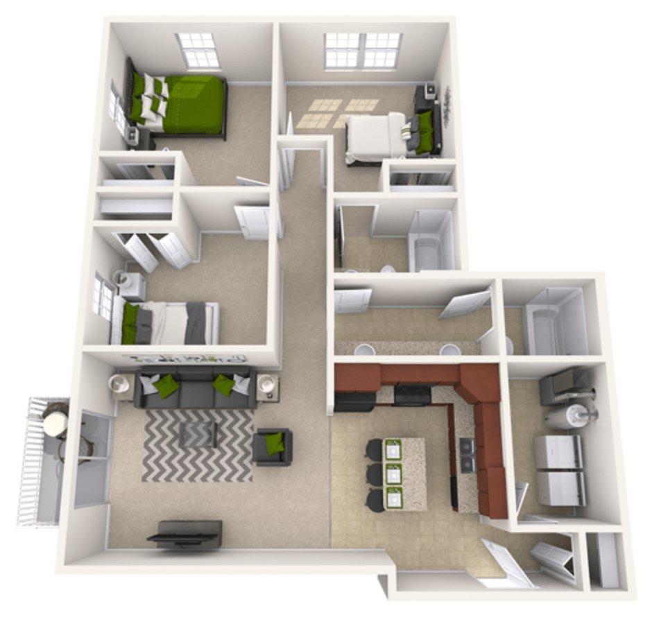 3 Bedrooms 2 Bathrooms Apartment for rent at Riverwalk Apartments in Lansing, MI