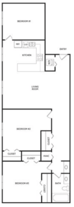 3 Bedrooms 1 Bathroom Apartment for rent at Glenwood Apartments in East Lansing, MI