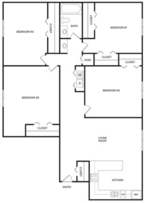 4 Bedrooms 1 Bathroom Apartment for rent at Glenwood Apartments in East Lansing, MI