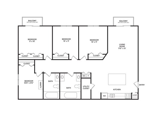 4 Bedrooms 2 Bathrooms Apartment for rent at Cedar Greens Apartments in East Lansing, MI