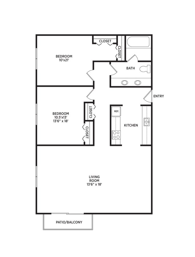 2 Bedrooms 1 Bathroom Apartment for rent at Delta Arms Apartments in East Lansing, MI