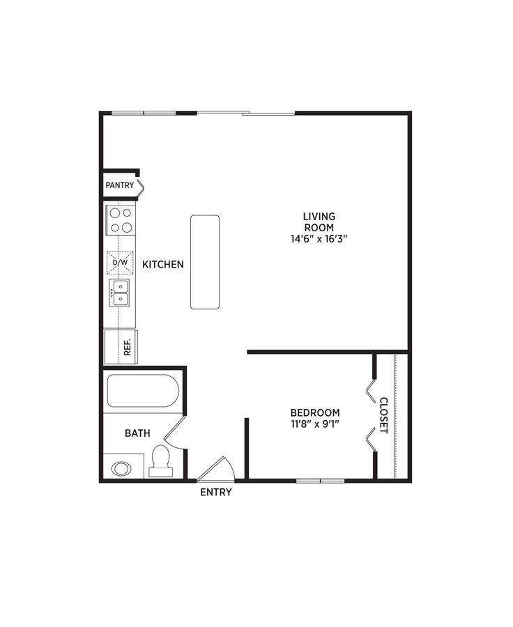 1 Bedroom 1 Bathroom Apartment for rent at West Village in East Lansing, MI