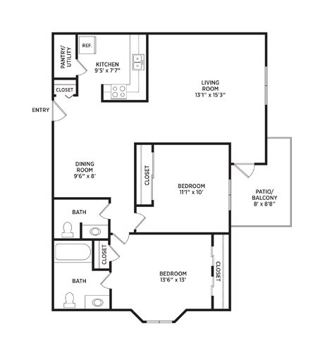 2 Bedrooms 2 Bathrooms Apartment for rent at Arbor Glen Apartments in East Lansing, MI