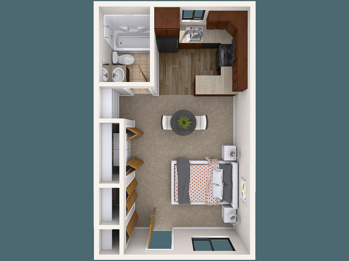 Studio 1 Bathroom Apartment for rent at 129 Burcham Apartments in East Lansing, MI