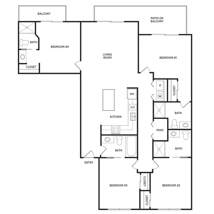4 Bedrooms 4+ Bathrooms Apartment for rent at Waterbury Place in Okemos, MI