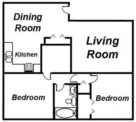 2 Bedrooms 1 Bathroom Apartment for rent at Ambassador Apartments in Lansing, MI