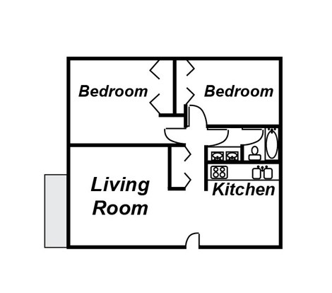 2 Bedrooms 1 Bathroom Apartment for rent at University Terrace Apartments in East Lansing, MI