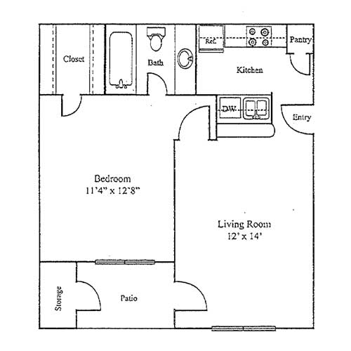 1 Bedroom 1 Bathroom Apartment for rent at Sutter Creek Apartments in Arlington, TX