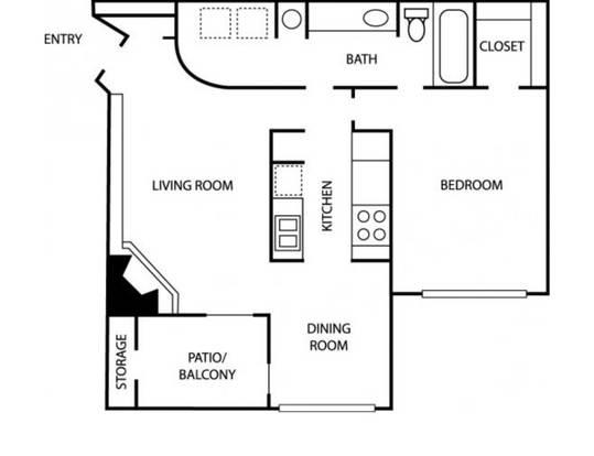 1 Bedroom 1 Bathroom Apartment for rent at Windsprint Apartments in Arlington, TX