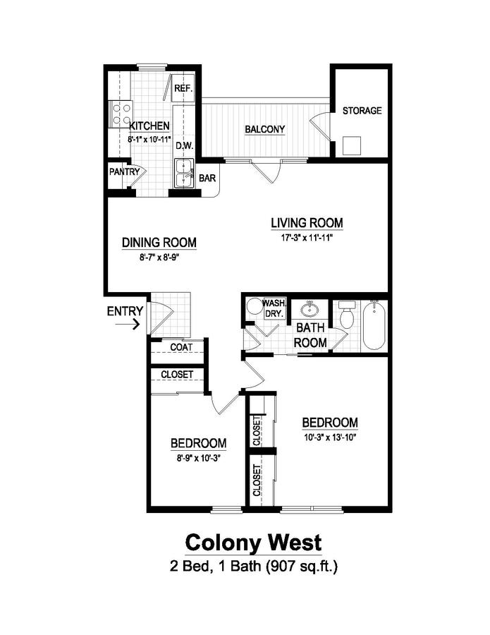 2 Bedrooms 1 Bathroom Apartment for rent at Colony West in Champaign, IL