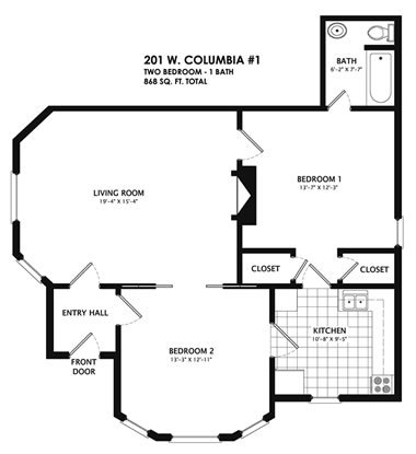 2 Bedrooms 1 Bathroom Apartment for rent at 201 West Columbia in Champaign, IL