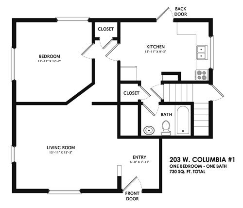 1 Bedroom 1 Bathroom Apartment for rent at 203 West Columbia in Champaign, IL
