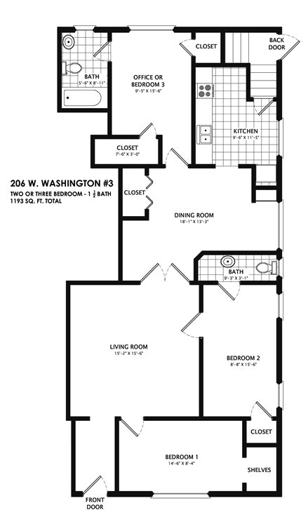 3 Bedrooms 2 Bathrooms Apartment for rent at 206 West Washington in Champaign, IL