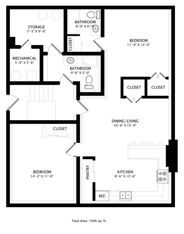 2 Bedrooms 2 Bathrooms Apartment for rent at 211 West Columbia in Champaign, IL